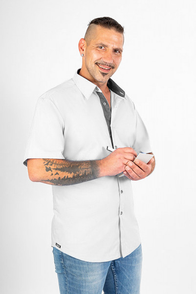 Unicolor performance business shirt Rike_Jeans Edition in great solid colors, set off with sturdy denim fabric