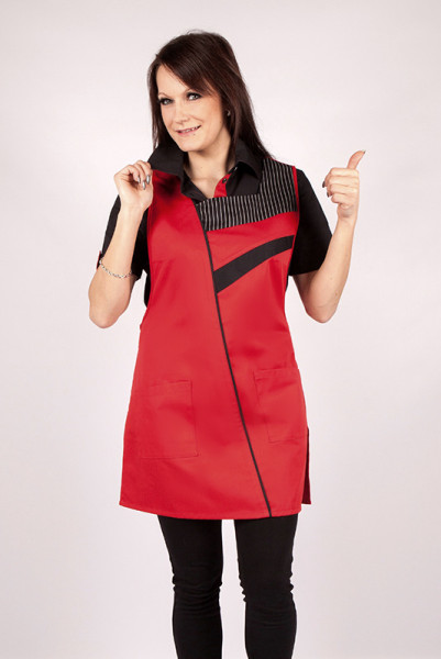 Throw-over apron Marietta_Series 129 in different basic colors, set off with black elements as well as a pinstripe on the chest area!