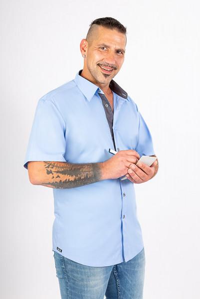 Unifarbiges performance Businesshemd Rike_Jeans Edition in tollen Unifarben, abgesetzt mit robustem Jeansstoff