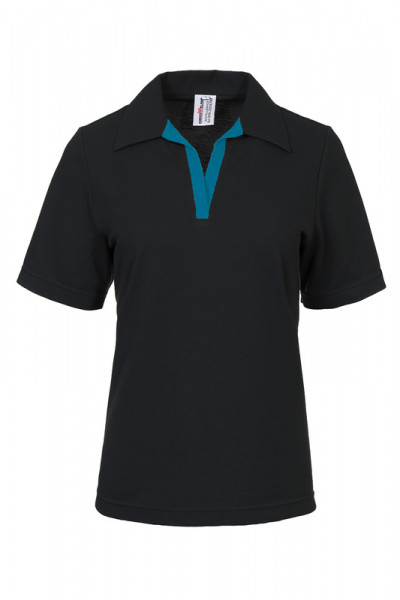 Damen Poloshirt Volly_Black Edition mit farbiger V-Leiste