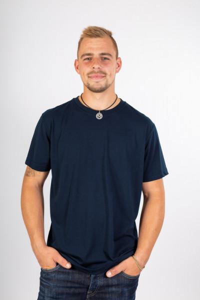 Dunkelblaues Rundhals T-Shirt Zypern für Damen, Frauen sowie Herren und Männer sowie in vielen Farben