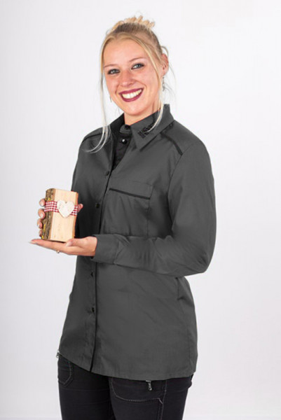 Performance ladies blouse Raina with chest pocket and high quality piping