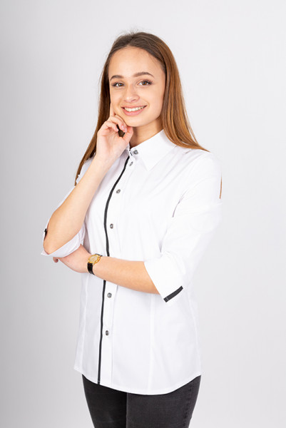 Performance women's blouse Falconia_White Edition in three-quarter sleeve by Enrico Wieland workwear